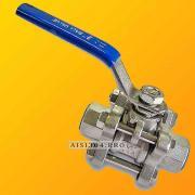 Кран нержавеющий муфтовый 3-х составной Ду 15, сталь AISI 304